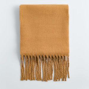 Mustard Fringed Wool Blend Scarf